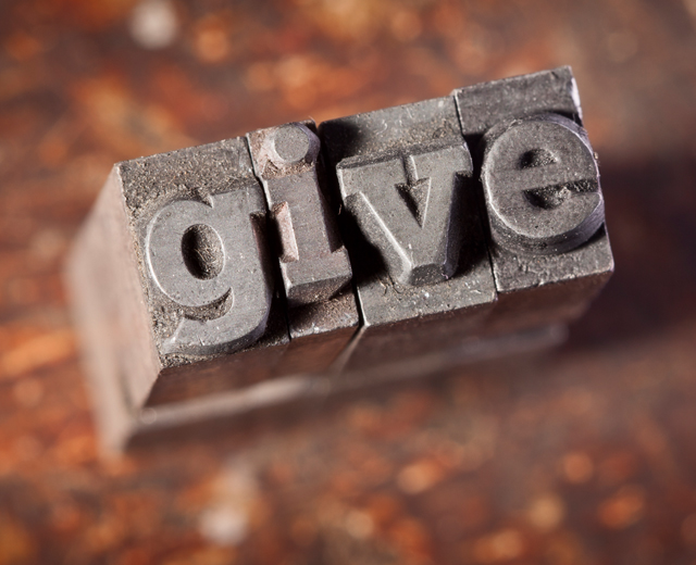 image of printers type that spells the word give